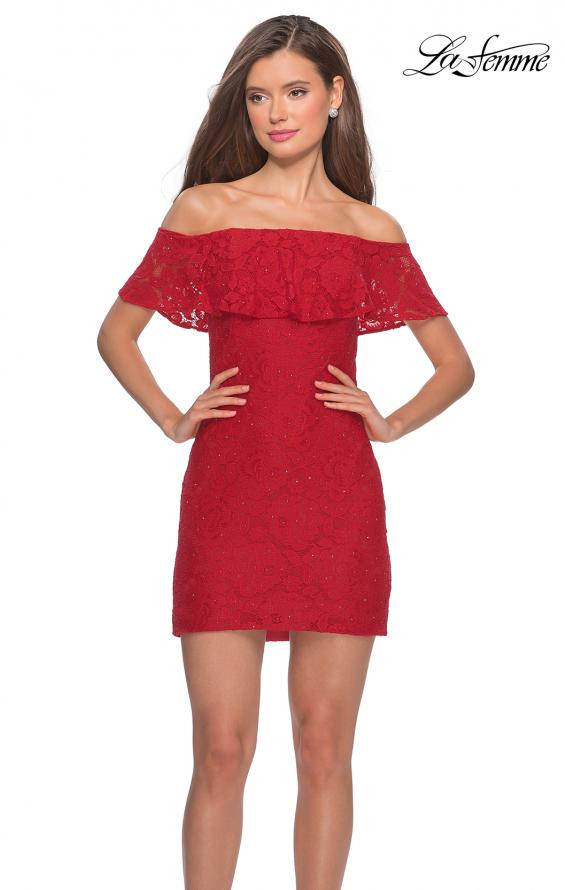 Picture of: Off The Shoulder Form Fitting Lace Party Dress in Red, Style: 28147, Main Picture