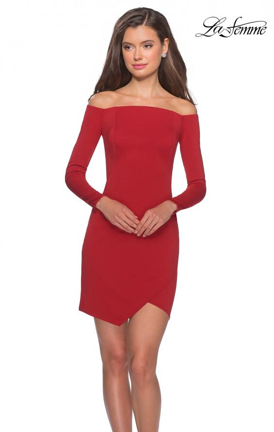 Picture of: Tight Homecoming Dress with Long Sleeves in Red, Style: 28182, Main Picture