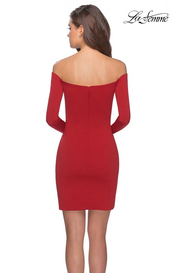 Picture of: Tight Homecoming Dress with Long Sleeves in Red, Style: 28182, Back Picture