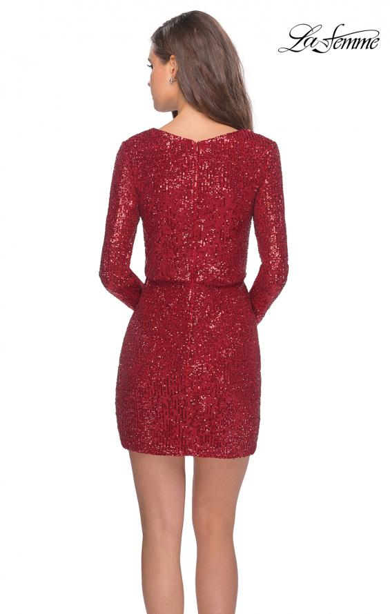 Picture of: Long Sleeve Sequin Dress with Faux Wrap Skirt in Red, Style: 28316, Back Picture