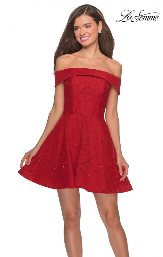 Picture of: Off the Shoulder Lace Fit and Flare Homecoming Dress in Red, Style: 28122, Detail Picture 1