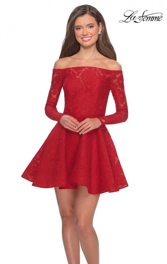 Picture of: Short Lace Dress with Off The Shoulder Long Sleeves in Red, Style: 28175, Detail Picture 1