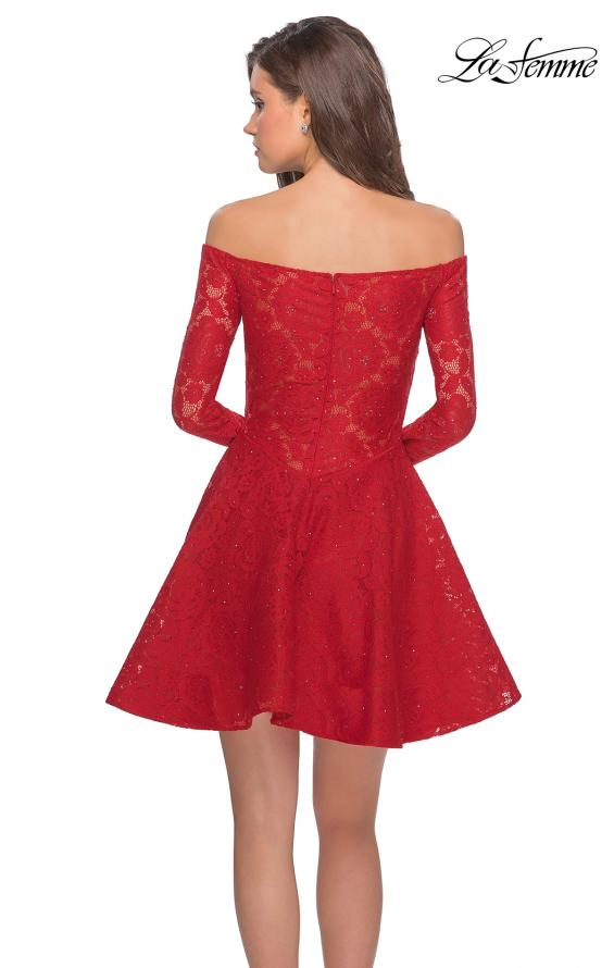 Picture of: Short Lace Dress with Off The Shoulder Long Sleeves in Red, Style: 28175, Detail Picture 2