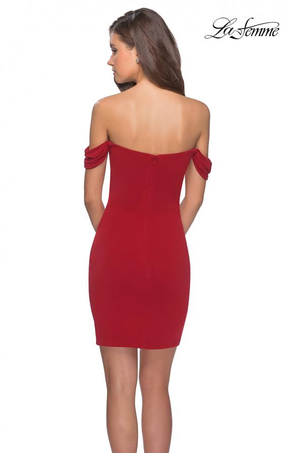 Picture of: Short Dress with Scalloped Off The Shoulder Sleeves in Red, Style: 28193, Detail Picture 2