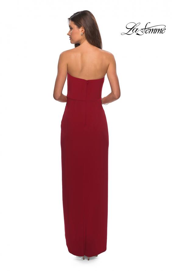 Picture of: Long Strapless Jersey Dress with Side Ruching in Red, Style: 28204, Detail Picture 2