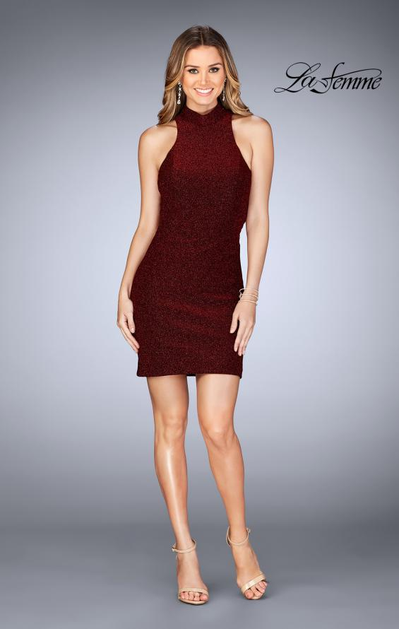 Picture of: Short Sparkly Jersey Dress with Keyhole Back in Red, Style: 25367, Detail Picture 4