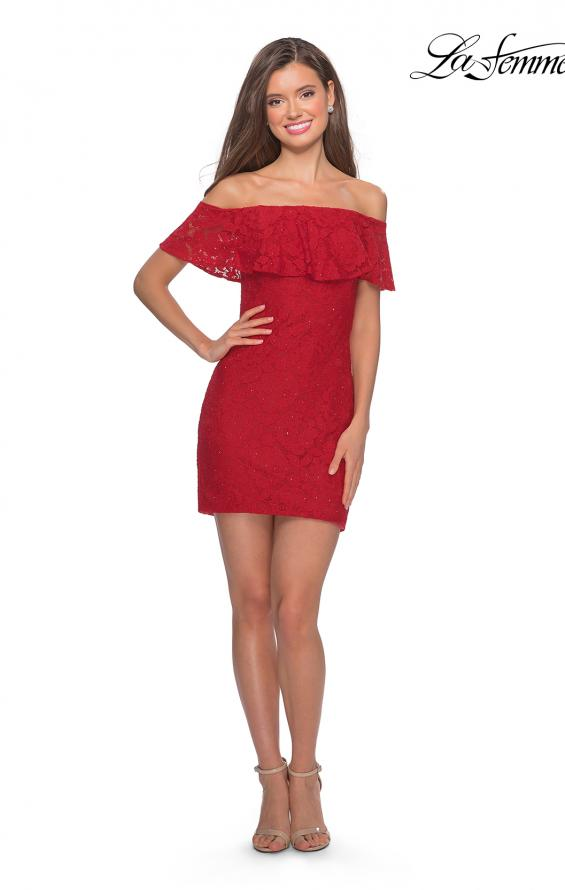 Picture of: Off The Shoulder Form Fitting Lace Party Dress in Red, Style: 28147, Detail Picture 4