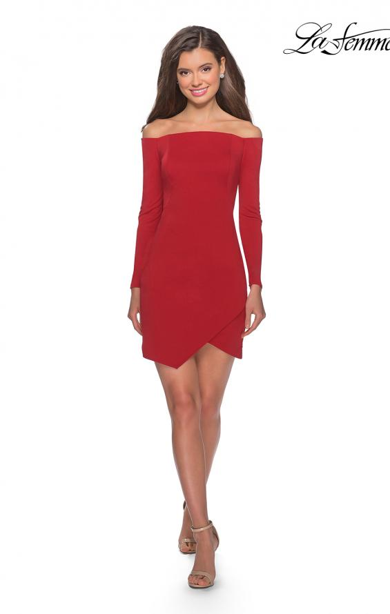 Picture of: Tight Homecoming Dress with Long Sleeves in Red, Style: 28182, Detail Picture 4