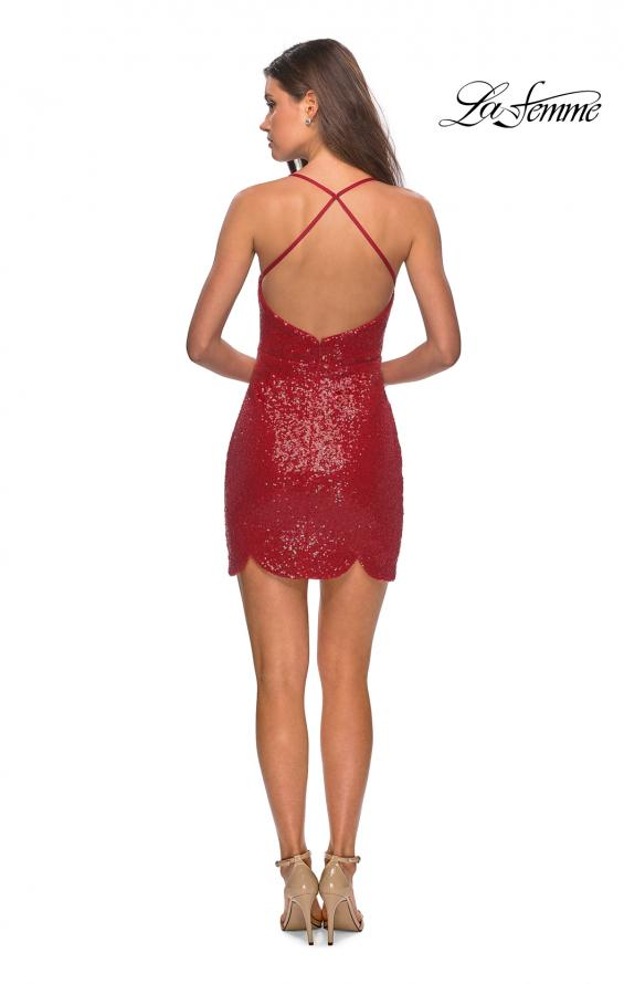 Picture of: Short Scalloped Sequined Homecoming Dress in Red, Style: 28228, Detail Picture 4
