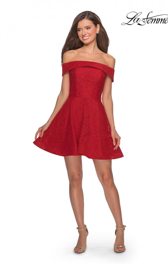 Picture of: Off the Shoulder Lace Fit and Flare Homecoming Dress in Red, Style: 28122, Detail Picture 5