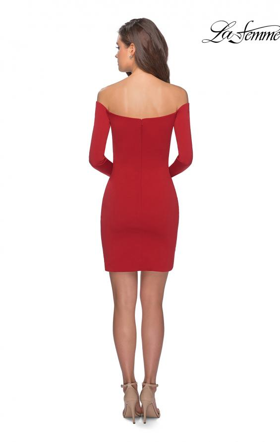 Picture of: Tight Homecoming Dress with Long Sleeves in Red, Style: 28182, Detail Picture 5