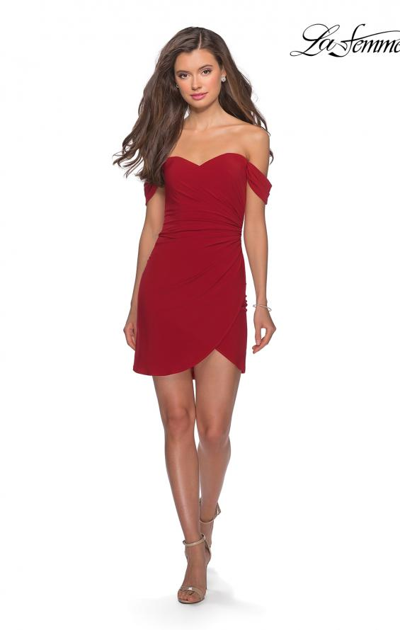Picture of: Short Dress with Scalloped Off The Shoulder Sleeves in Red, Style: 28193, Detail Picture 5
