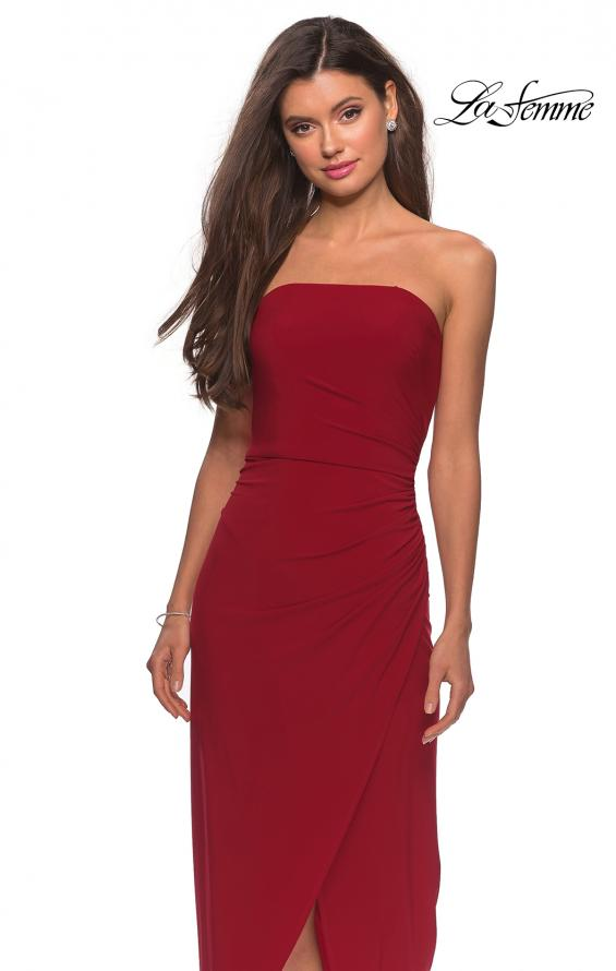 Picture of: Long Strapless Jersey Dress with Side Ruching in Red, Style: 28204, Detail Picture 6