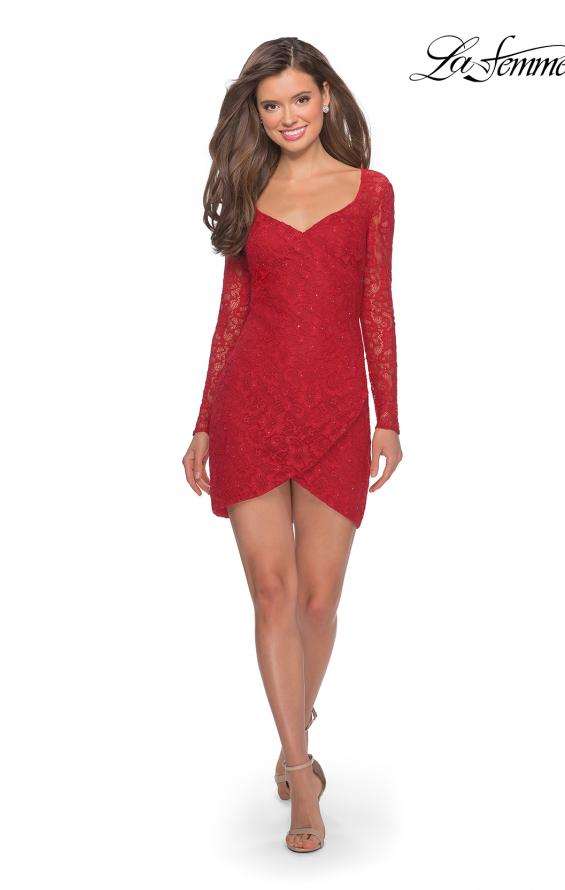 Picture of: Long Sleeve Lace Short Dress with Sheer Back Detail in Red, Style: 28232, Detail Picture 6