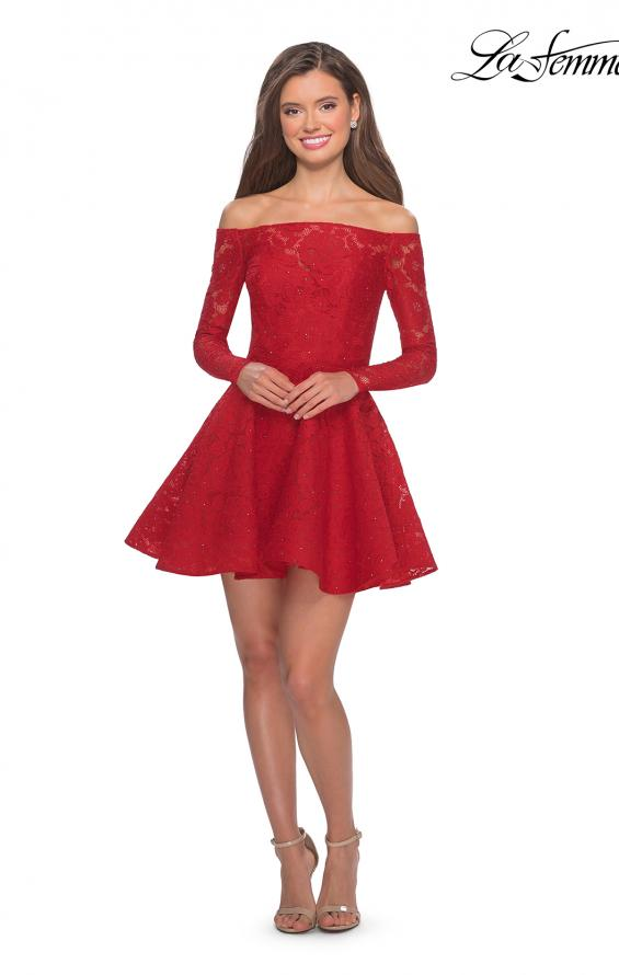 Picture of: Short Lace Dress with Off The Shoulder Long Sleeves in Red, Style: 28175, Detail Picture 7