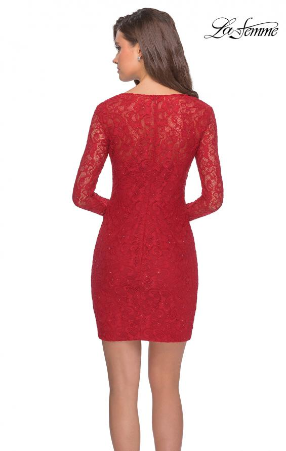 Picture of: Long Sleeve Lace Short Dress with Sheer Back Detail in Red, Style: 28232, Detail Picture 7