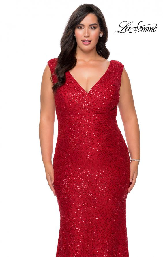 Picture of: Curvy Stretch Lace Dress with V-Neck and Rhinestones in Red, Style: 28837, Detail Picture 9