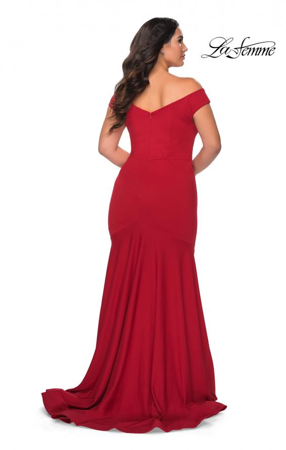 Picture of: Off the Shoulder Plus Size Jersey Prom Dress in Red, Style: 28963, Back Picture
