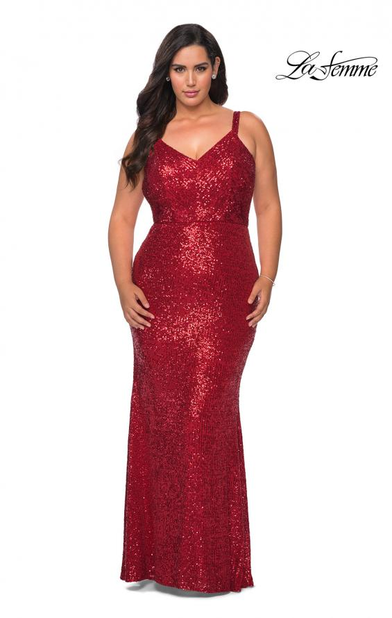 Picture of: Sequined Curvy Prom Dress with Criss Cross Back in Red, Style: 29037, Back Picture