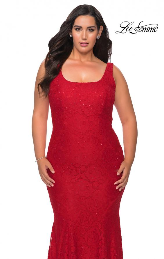 Picture of: Stretch Lace Plus Size Prom Gown with Beading in Red, Style: 28948, Detail Picture 1
