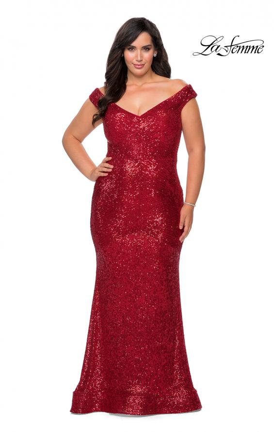 Picture of: Sequin Off The Shoulder Plus Size Prom Dress in Red, Style: 28949, Detail Picture 1