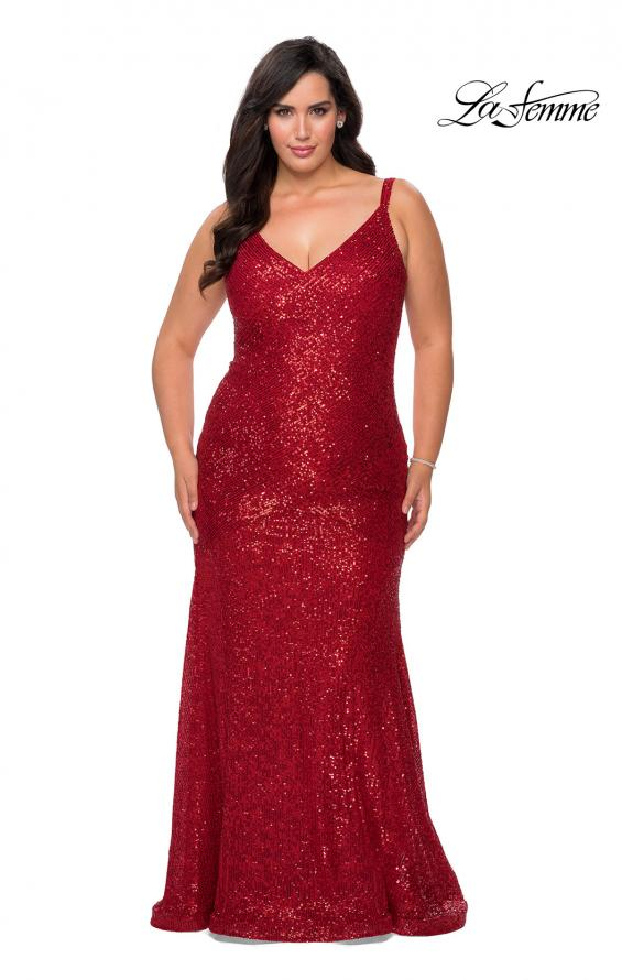 Picture of: Long Sequin Curvy Prom Dress with V-Neckline in Red, Style: 29006, Detail Picture 1