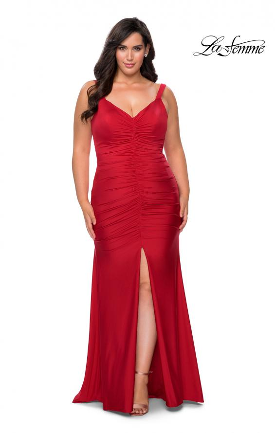 Picture of: Curvy Jersey Prom Dress with Center Slit and Ruching in Red, Style: 29027, Detail Picture 1
