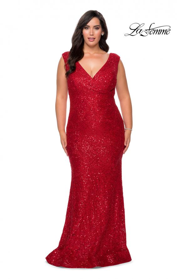 Picture of: Curvy Stretch Lace Dress with V-Neck and Rhinestones in Red, Style: 28837, Detail Picture 2