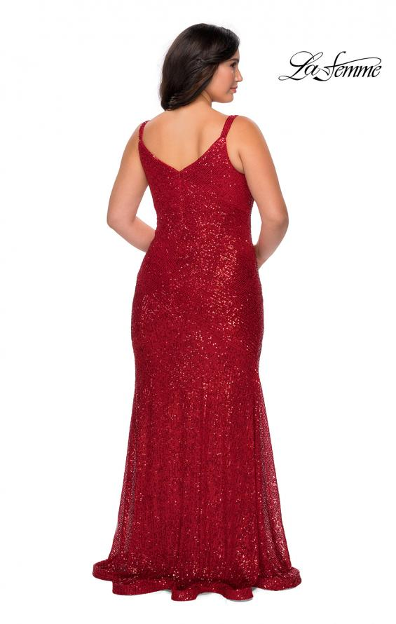 Picture of: Long Sequin Curvy Prom Dress with V-Neckline in Red, Style: 29006, Detail Picture 2