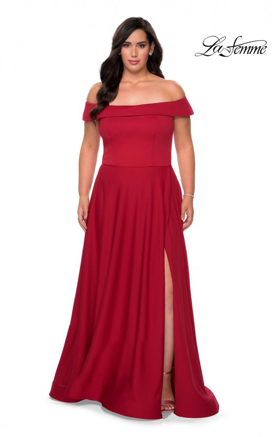 Picture of: Off The Shoulder Plus Size Dress with Leg Slit in Red, Style: 29007, Detail Picture 2