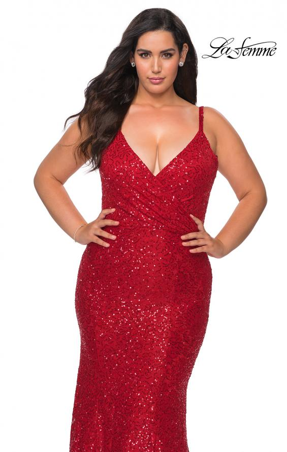 Picture of: Sequin Curvy Prom Dress with Cut Out Open Back in Red, Style: 29063, Detail Picture 2