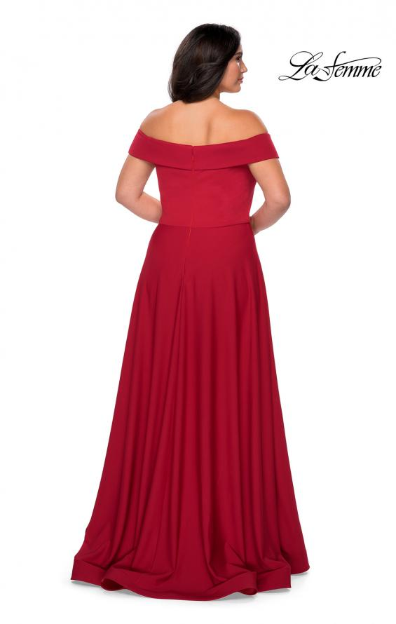 Picture of: Off The Shoulder Plus Size Dress with Leg Slit in Red, Style: 29007, Detail Picture 3