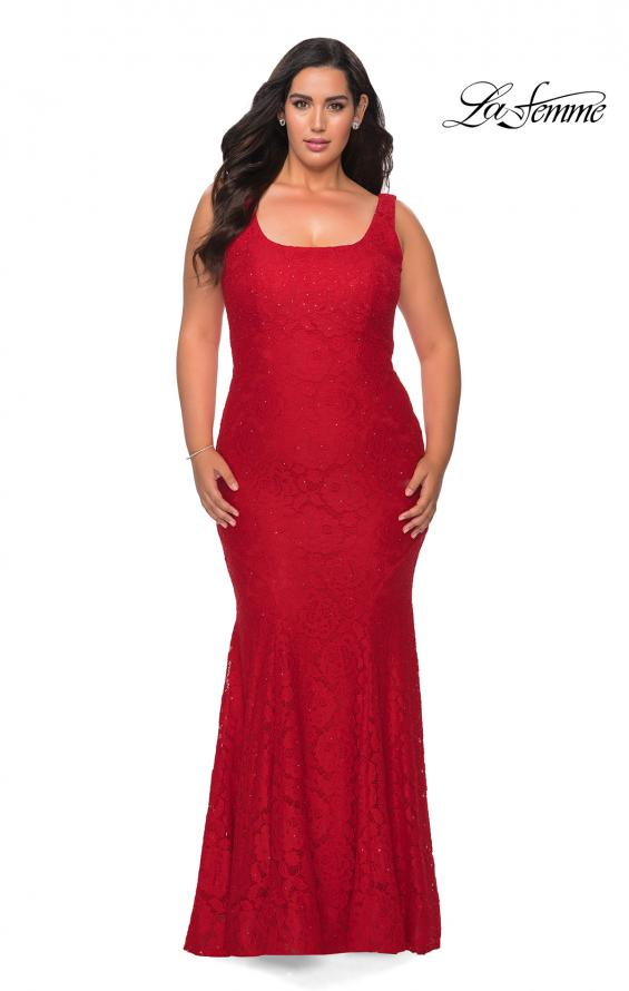 Picture of: Stretch Lace Plus Size Prom Gown with Beading in Red, Style: 28948, Detail Picture 4