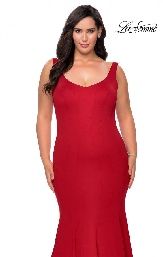 Picture of: Long Jersey Plus Size Mermaid Prom Dress in Red, Style: 28975, Detail Picture 4