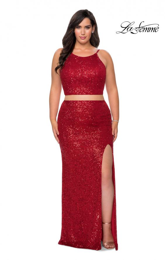 Picture of: Two Piece Long Sequin Plus Size Prom Dress in Red, Style: 29026, Detail Picture 4