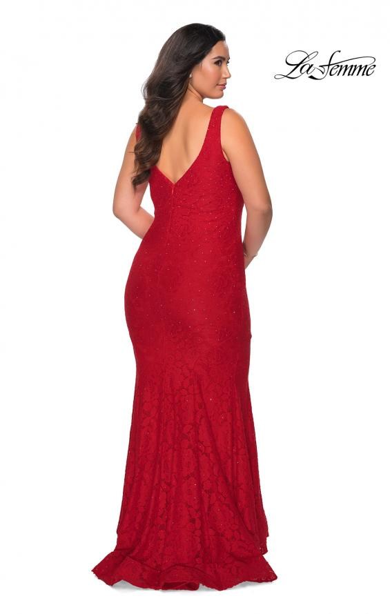 Picture of: Stretch Lace Plus Size Prom Gown with Beading in Red, Style: 28948, Detail Picture 5