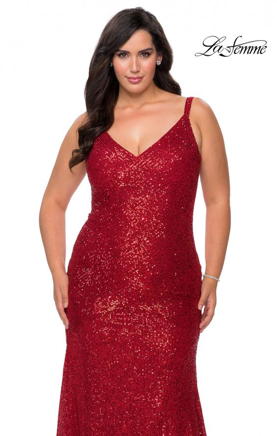 Picture of: Long Sequin Curvy Prom Dress with V-Neckline in Red, Style: 29006, Detail Picture 5