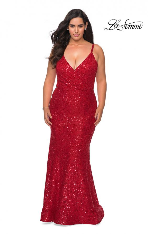 Picture of: Sequin Curvy Prom Dress with Cut Out Open Back in Red, Style: 29063, Detail Picture 5