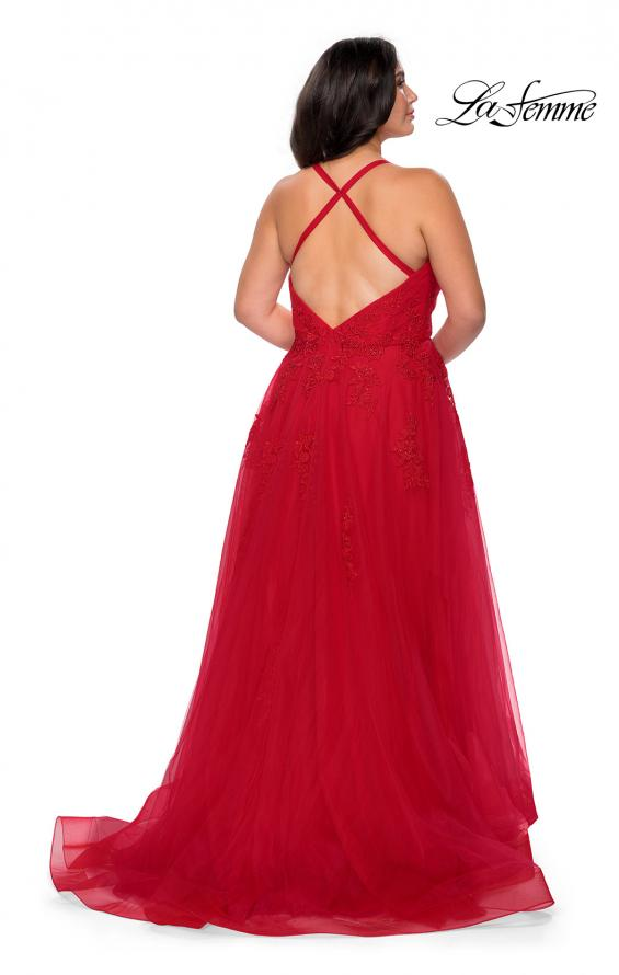 Picture of: Plus Size A-line Tulle Prom Dress with Floral Detailing in Red, Style: 29021, Detail Picture 6
