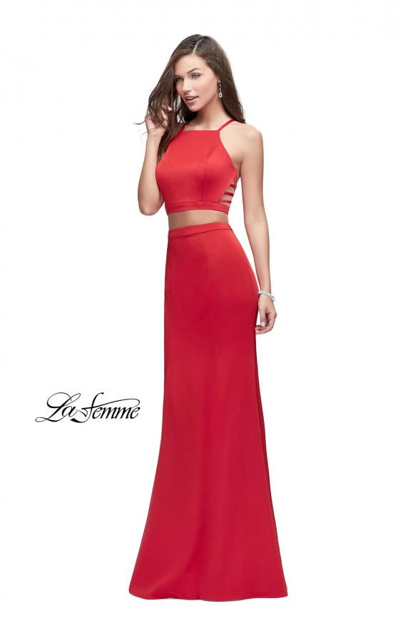Picture of: Two Piece Jersey Prom Dress with High Neckline in Red, Style: 25220, Main Picture