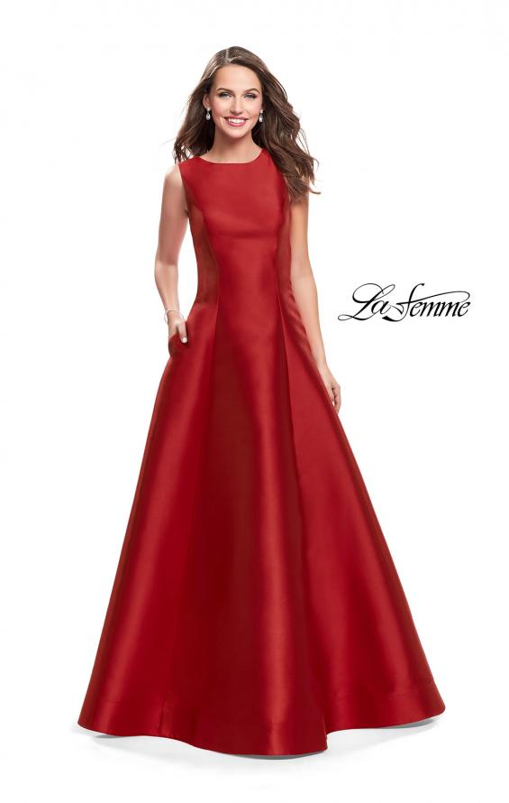 Picture of: Long Mikado Ball Gown with Boat Neck and Criss Cross Back in Red, Style: 25425, Main Picture