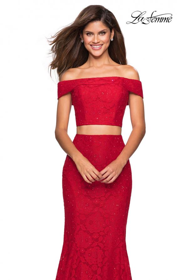 Picture of: Lace Two Piece Off the Shoulder Dress with Rhinestones in Red, Style: 27443, Main Picture