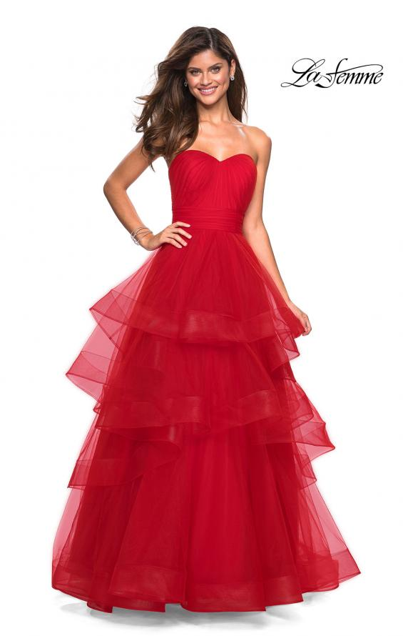Picture of: Layered Tulle Strapless Prom Gown with Ruching, Style: 27624, Main Picture