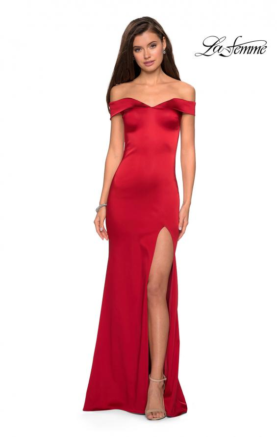 Picture of: Form Fitting Off the Shoulder Satin Prom Dress in Red, Style: 27752, Main Picture