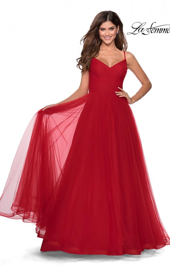 Picture of: Long Tulle Pleated Bodice Prom Gown with Pockets in Red, Style: 28123, Main Picture
