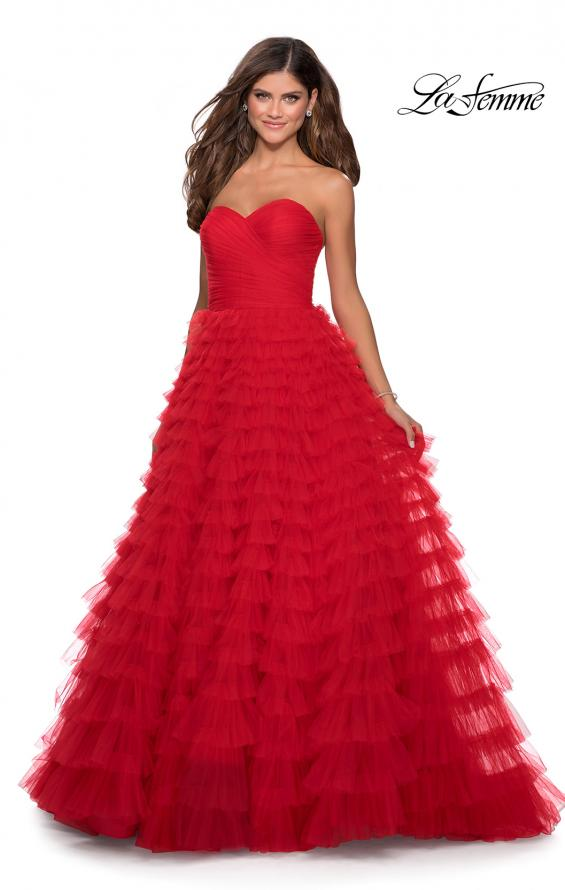 Picture of: Cascading Tulle Strapless Gown with Ruching in Red, Style: 28345, Main Picture