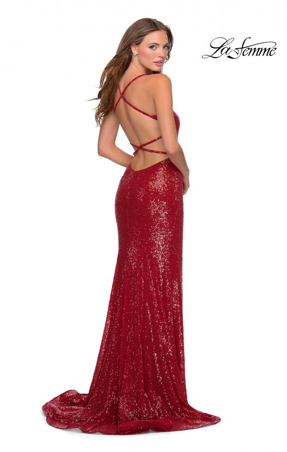 Picture of: Sequin Prom Dress with Criss Cross Open Back in Red, Style: 28514, Main Picture