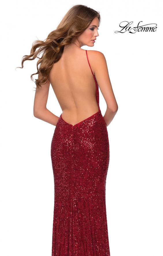 Picture of: HIgh Neck Sequin Gown with Open Back and Slit in Red, Style: 28529, Main Picture