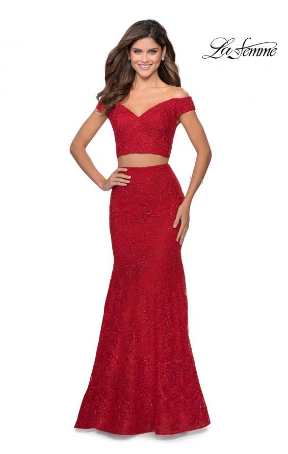 Picture of: Two Piece Lace Gown with Off the Shoulder Top in Red, Style: 28816, Main Picture