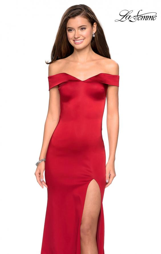 Picture of: Form Fitting Off the Shoulder Satin Prom Dress in Red, Style: 27752, Detail Picture 8